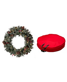 Pre-Lit Glittered Pine Cone Christmas Wreath, with Storage Bag