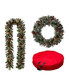 2 Piece Pre-Lit Glittered Pine Cone Christmas Wreath and Garland with Storage Bag