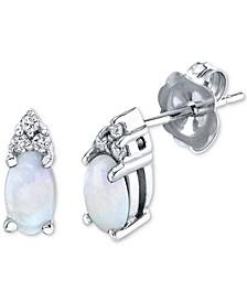 Opal (3/8 ct. t.w.) & Diamond (1/20 ct. t.w.) Stud Earrings in 14k White Gold