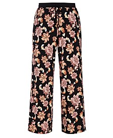 Tropical Print Wide-Leg Pants