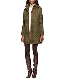 Lauren Ralph Lauren Faux Suede–Trim Quilted Coat, Created for Macy's