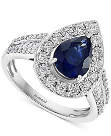 EFFY® Sapphire (1-5/8 ct. t.w.) & Diamond (3/8 ct. t.w.) Teardrop Ring in 14k White Gold