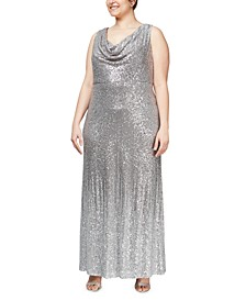 Plus Size Cowlneck Sequin Gown