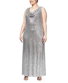 Alex Evenings Plus Size Cowlneck Sequin Gown