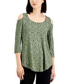 Geometric-Print Cold-Shoulder Top, Created for Macy's