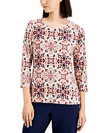 Plus Size Jacquard 3/4-Sleeve Top, Created for Macy's