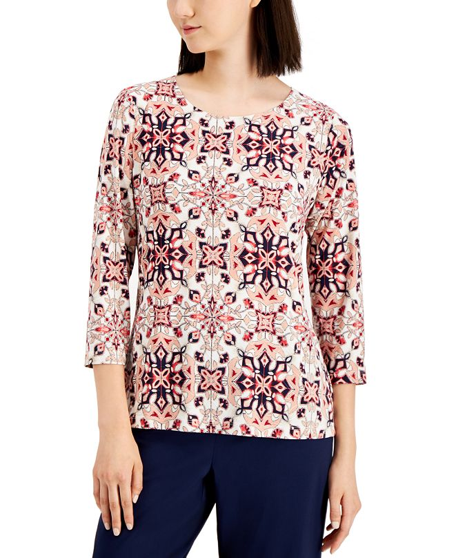 JM Collection Plus Size Jacquard 3/4-Sleeve Top, Created for Macy's
