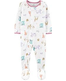 Baby Girl 1-Piece Loose Fit Footie PJs
