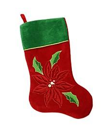 Velveteen Sequined Poinsettia Christmas Stocking