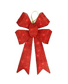 Lighted Sparkling Sisal Double Bow Outdoor Christmas Decoration