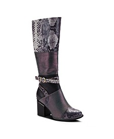 Women's Exguisitie Snake Print Tall Boots