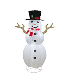Pre-Lit Chenille Swirl Large Snowman with Top Hat Christmas Outdoor Decoration