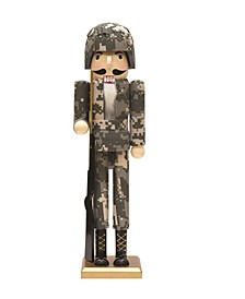 Beige and Army Soldier in Fatigues Christmas Nutcracker