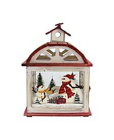 Snowman Holiday Scene Christmas Candle Lantern