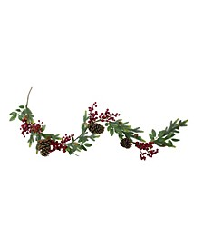Pine Springs Berries and Pine Cones Artificial Christmas Garland-Unlit