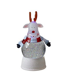 Reindeer LED Lighted Swirling Glitter Water Globe Christmas Table top Decoration