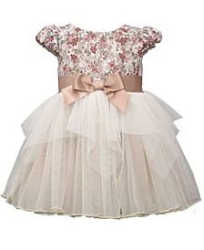 Baby Girls Short Sleeve Bonded Lace Bodice To Tiered Mesh Skirt Social