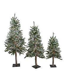 Pre-Lit Flocked Alpine Artificial Christmas Trees, Set of 3