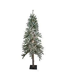 Pre-Lit Pencil Flocked Alpine Artificial Christmas Tree