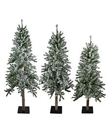 Unlit Slim Flocked Alpine Artificial Christmas Trees