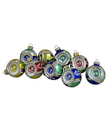 Count Vibrantly Colo Retro Reflector Shiny Glass Christmas Ball Ornaments