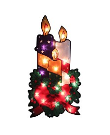 Lighted Holly and Berry with Candles and Bow Christmas Window Silhouette