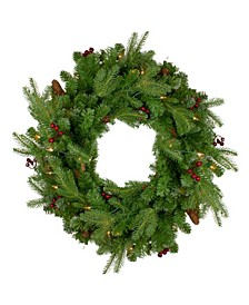 Pre-Lit Mixed Winter Berry Pine Artificial Christmas Wreath-Clear Lights