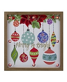 """Wooden Frame """"Merry Bright"""" with Hanging Ornaments and Glitter Christmas Plaque"""