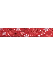 Metallic Snowflakes Christmas Wired Craft Ribbon Yards