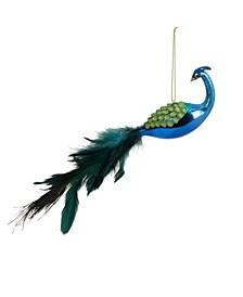 Textured Peacock Christmas Ornament