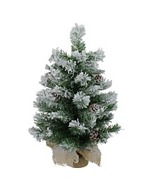 Unlit Flocked Pine Artificial Christmas Tree in Burlap Base