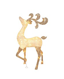 Lighted and Glitter Drenched Reindeer Outdoor Christmas Yard Art