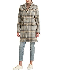 Plaid Single-Breasted Walker Coat, Created for Macy's