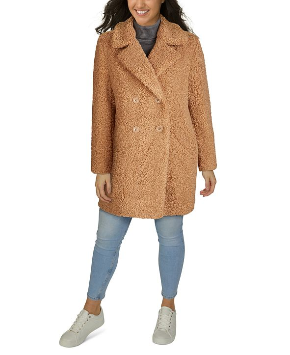Kenneth Cole Plus Size Double-Breasted Faux-Fur Teddy Coat