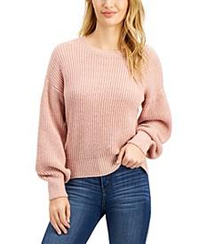 Juniors' Crew-Neck Balloon-Sleeve Sweater