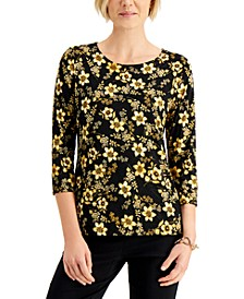 Floral-Print 3/4-Sleeve Jacquard Top, Created for Macy's