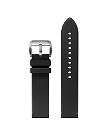 Men's Flat Edged Black Rubber Strap 22mm