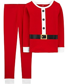 Little & Big Boys 2-Pc. Cotton Santa Suit Pajamas Set