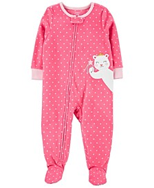 Toddler Girl 1-Piece Mouse Fleece Footie PJs