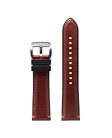 Men's Durevole Dark Brown Rubber Leather Hybrid Strap 22mm