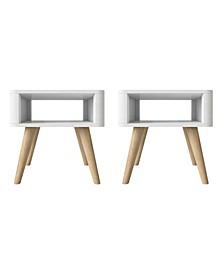 Jewl Mid Century Modern Wood End Tables, Set of 2
