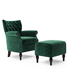 Handy Living Minstrale Button Tufted Rolled Arm Chair and Ottoman Set