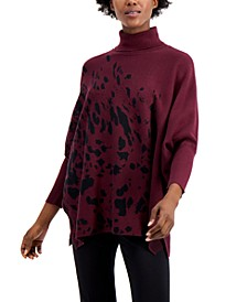 Printed Drop-Shoulder Turtleneck Sweater, Regular & Petite Sizes, Created for Macy's