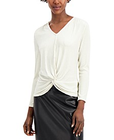 Knot-Front Metallic-Striped Top, Created for Macy's
