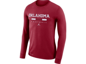 Nike Oklahoma Sooners Men's Dri-Fit Cotton Icon Wordmark Long Sleeve T-Shirt