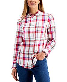 Charter Club Cotton Ruffle-Trim Plaid Shirt, Created for Macy's