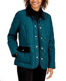 Quilted Corduroy-Trim Jacket, Created for Macy's