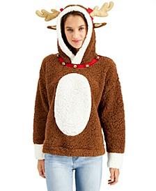 Juniors' Faux-Sherpa Reindeer Hoodie