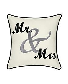 """Celebrations """"Mr. Mrs."""" Cursive Embroidered Applique Decorative Pillow, 17"""" x 17"""""""