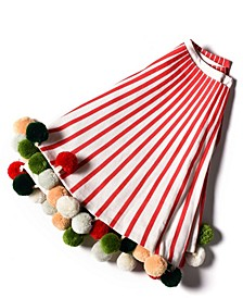 by Laura Johnson Stripe Tree Skirt with Pom Poms